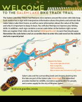 Welcome sign for the Salem Lake bike TRACK Trail