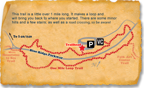 Map of Blue Ridge Parkway Visitor Center TRACK Trail