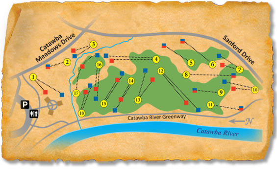 Map of Catawba Meadows Park Nature Trail Disc Golf Course