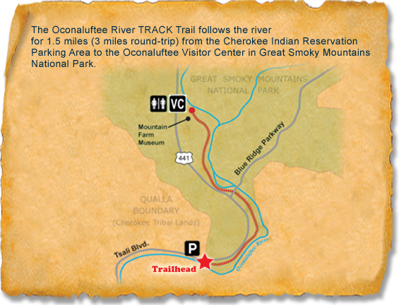 Map of TRACK Trail at Oconaluftee River