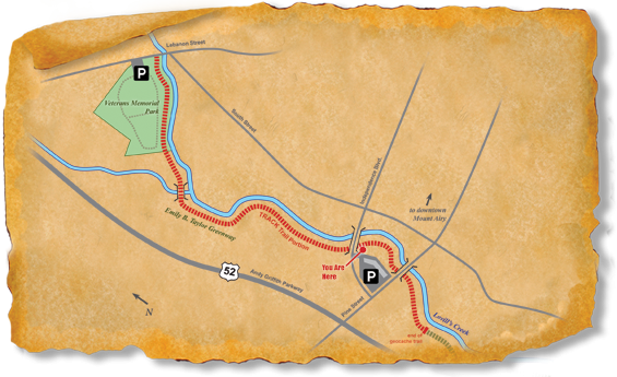 Map of TRACK Trail at Mount Airy's Emily B. Taylor Greenway