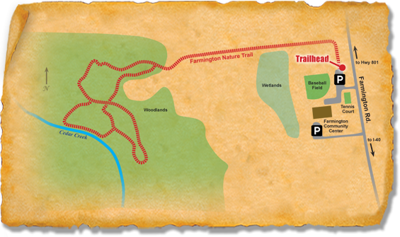 Map of TRACK Trail at Farmington Nature Park