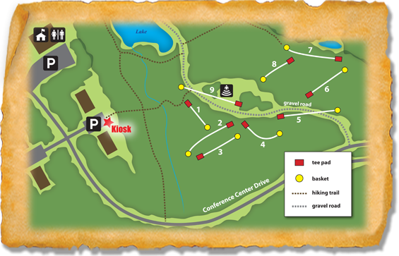 Map of the Haw River State Park Nature Trail Disc Golf Course