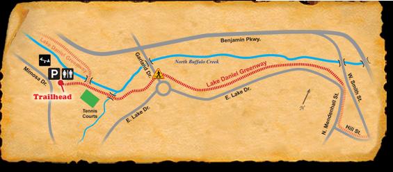 Map of TRACK Trail at Lake Daniel Park
