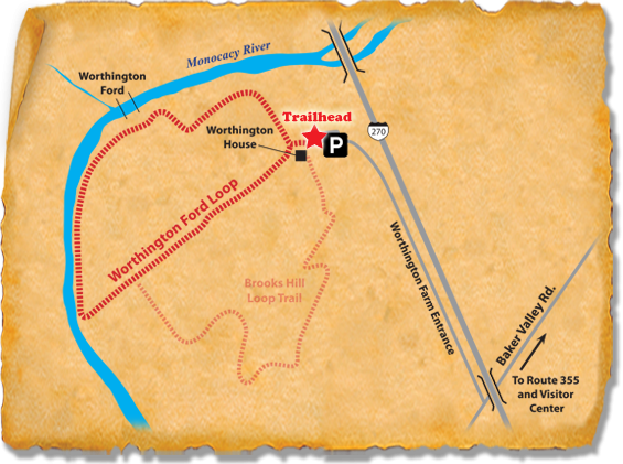 Map of TRACK Trail through Monocacy National Battlefield