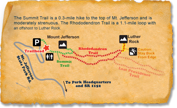 Map of TRACK Trail at Mount Jefferson State Park