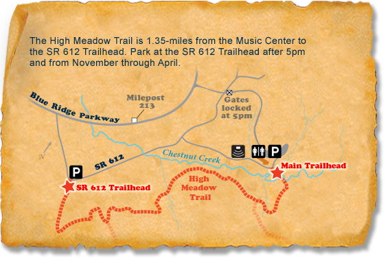 Map of TRACK Trail at Blue Ridge Music Center