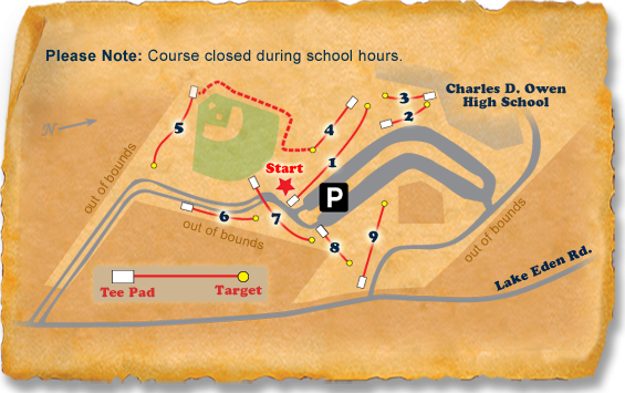Owen High School Nature Trail Disc Golf Course map
