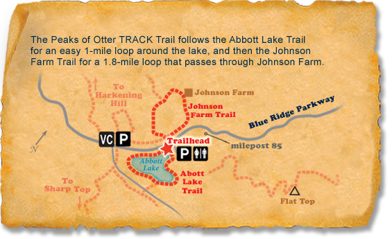 Map of TRACK Trail at Peaks of Otter