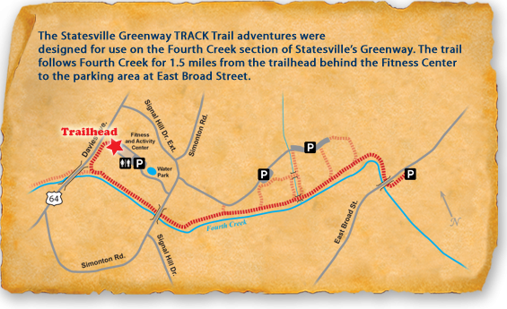 Map of TRACK Trail at Statesville Greenway