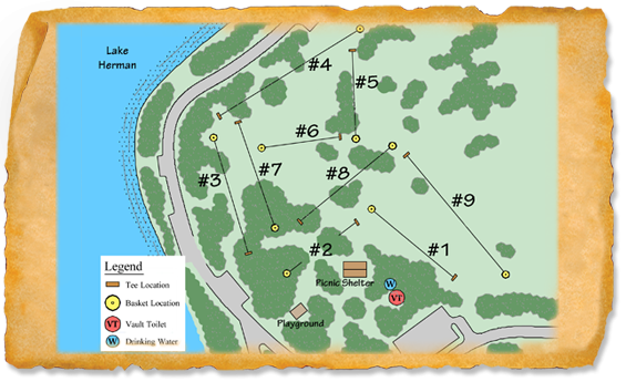 Map of Lake Herman State Park Disc Golf Course