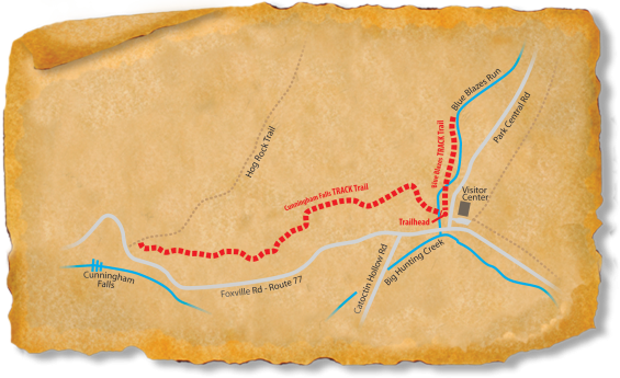 Map of TRACK Trail through Catoctin's Blue Blazes and Falls trails