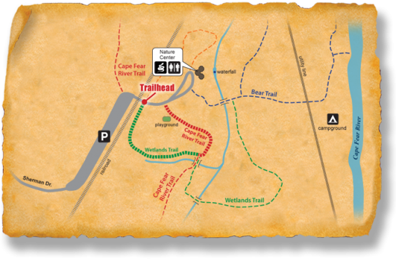 Map of TRACK Trail at J. Bayard Clark Park and Nature Center