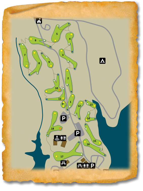 Map of the disc golf course at Fort Hamby