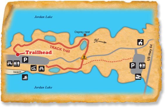 Map of TRACK Trail at Jordan Lake State Recreation Area