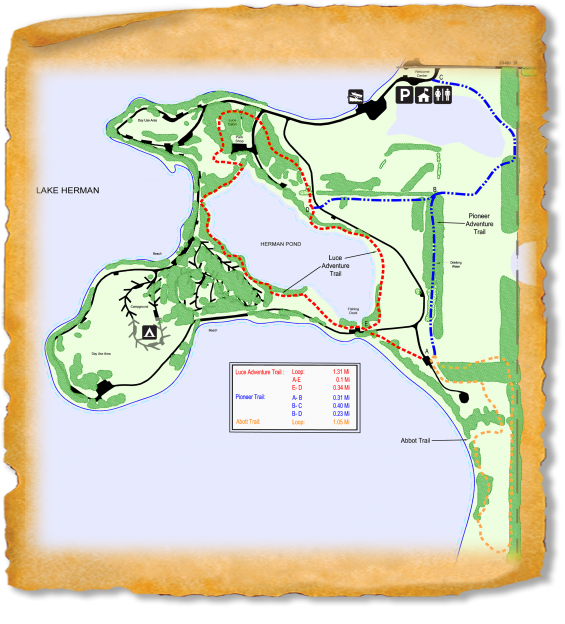 Map of TRACK Trail at Lake Herman State Park