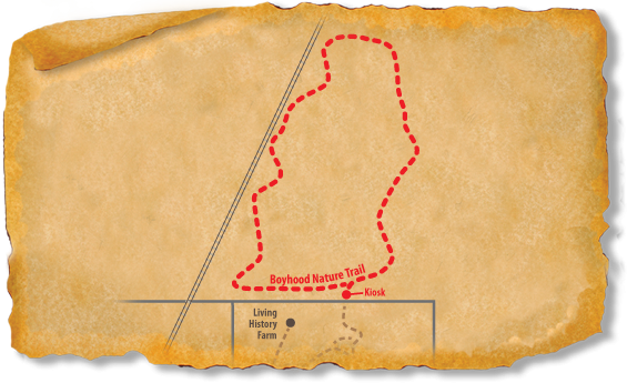 Map of TRACK Trail path through Lincoln Boyhood