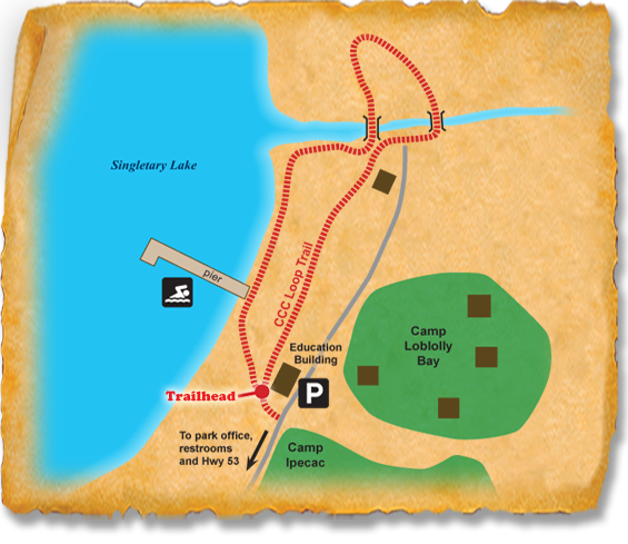 Map of TRACK Trail at Singletary Lake State Park