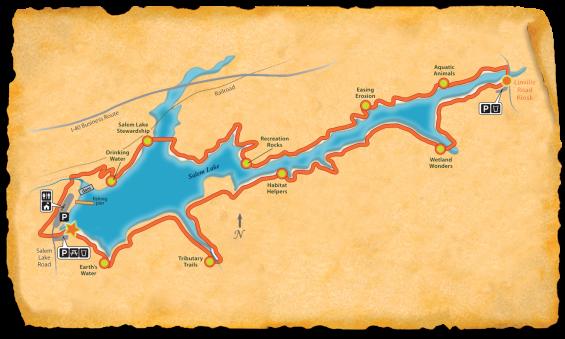 Map of bike path around Salem Lake