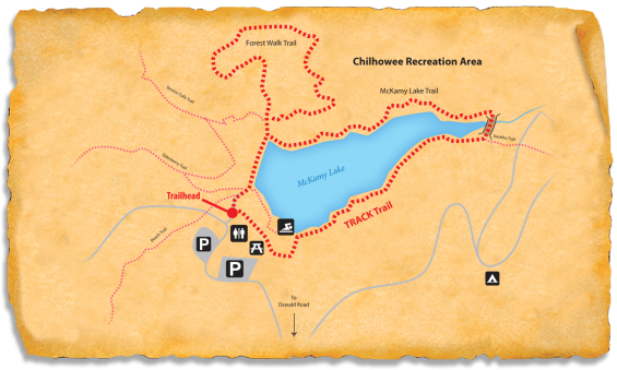 Map of TRACK Trail through Chilhowee Recreation Area