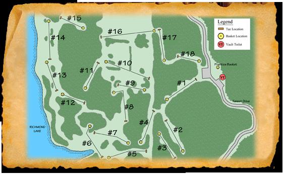 Map of Richmond Lake Recreation Area Disc Golf Course