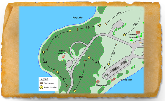 Map of Roy Lake State Park Disc Golf Course