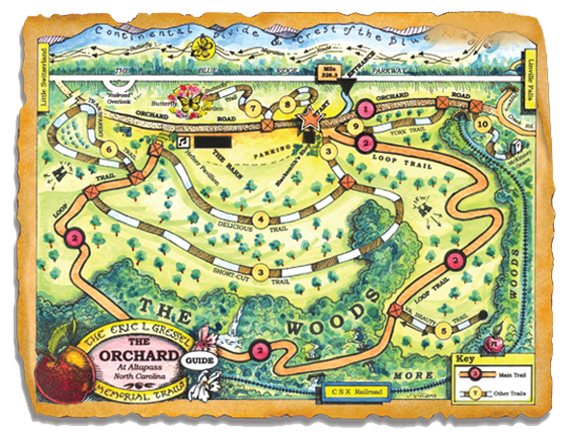 Map of TRACK Trail at The Orchard at Altapass