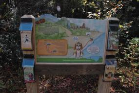 Kids in Parks trailhead with activity brochures