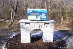 Trail head kiosk at the Mount Airy Ararat River TRACK Trail