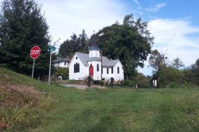 White church on a hill