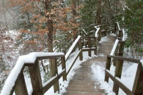 Snow on wooden stairs