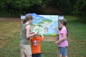 Kids standing by the Claytor lake TRACK Trail Sign