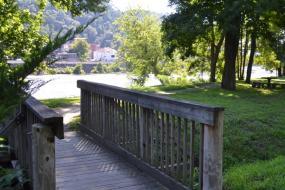 Wooden bridge over small bridge