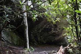 Large overhanging boulder
