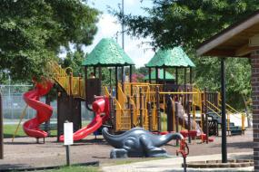Playground with climbs and slides