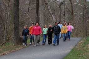 Group hiking the Mount Airy Ararat River TRACK Trail