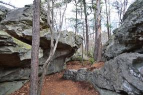 Trail winding through rock formation