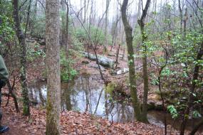 Stream winding through rocks