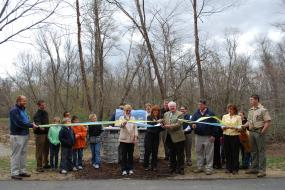 Ribbon cutting at Mount Airy Ararat River TRACK Trail
