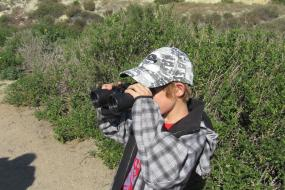 Kid spotting birds with binoculars