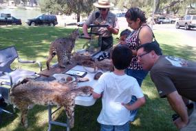 Ranger showing kids some of the wildlife in the park