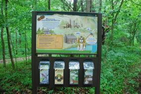 Trailhead sign with four brochures