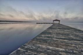 Long view down a dock on Singletary Lake