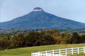 Pilot Mountain towering over the landscape