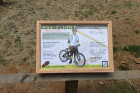 Instructional sign showing a pre-ride checklist