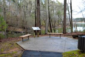 Benches and interpretive sign