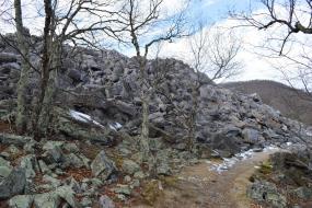 Remnants of snow on rocks