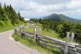 Paved mountain path with wooden fence