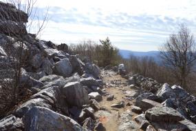 Rocky path along the mountainside