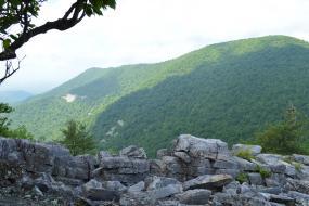 Mountain view beyond a rock wall